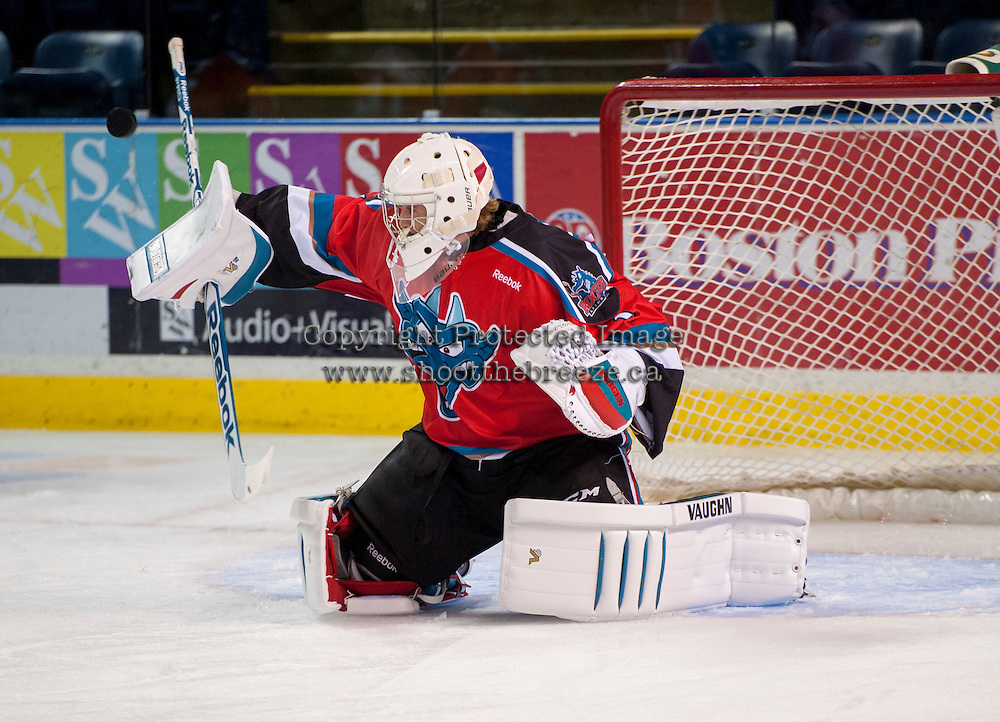 KELOWNA, CANADA - AUGUST 30:  Jackson Whistle #1 of the Kelowna Rockets makes a save against the Kamloops Blazers on August 30, 2014 during pre-season at Prospera Place in Kelowna, British Columbia, Canada.   (Photo by Marissa Baecker/Shoot the Breeze)  *** Local Caption *** Jackson Whistle;