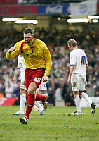 Photo: Rich Eaton.<br /> <br /> Leeds United v Watford. Coca Cola Championship. Play off Final. 21/05/2006.<br /> <br /> Darius Henderson celebrates scoring Watfords 3rd goal