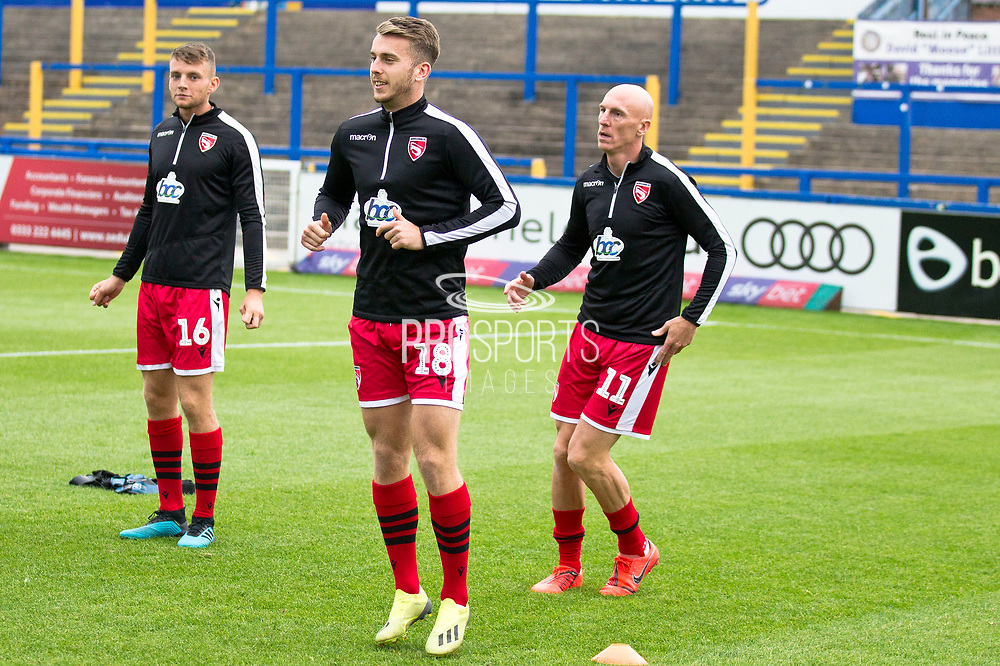 Morecambe warming up before the EFL Sky Bet League 2 match between Macclesfield Town and Morecambe at Moss Rose, Macclesfield, United Kingdom on 20 August 2019.