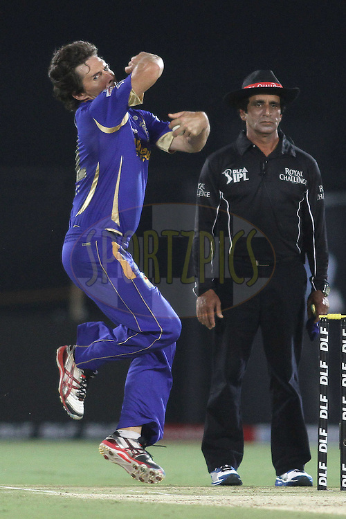Brad Hogg of the Rajasthan Royals sends down a delivery during match 30 of the the Indian Premier League (IPL) 2012  between The Rajasthan Royals and the Royal Challengers Bangalore held at the Sawai Mansingh Stadium in Jaipur on the 23rd April 2012..Photo by Shaun Roy/IPL/SPORTZPICS