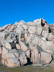 Characteristic granite rocks and cliff in Lysekil town on Swedens west Bohuslan coast 2009