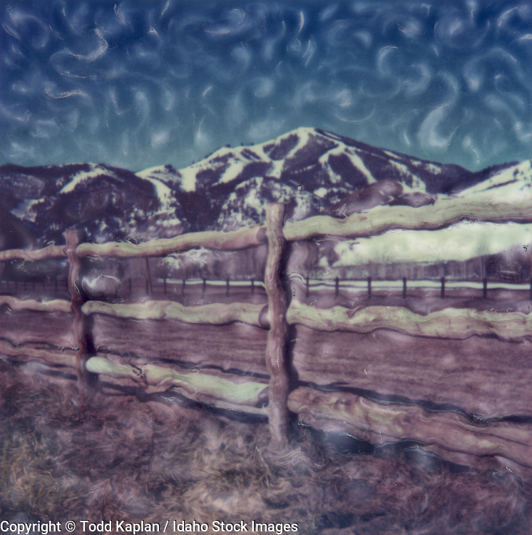 Idaho. Sun Valley. Polaroid SX-70 image of Baldy with emulsion manipulated.