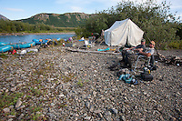 Campsite along Klak Creek, near its confluence with the Kanektok River...Shot in Alaska, USA