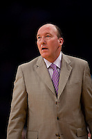 15 January 2010: Head coach Mike Dunleavy of the Los Angeles Clippers coaches against the Los Angeles Lakers during the Lakers 126-86 victory over the Clippers at the STAPLES Center in Los Angeles, CA.