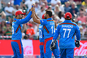 Wicket - Gulbadin Naib (c) of Afghanistan celebrates taking the wicket of Aaron Finch of Australia during the ICC Cricket World Cup 2019 match between Afghanistan and Australia at the Bristol County Ground, Bristol, United Kingdom on 1 June 2019.