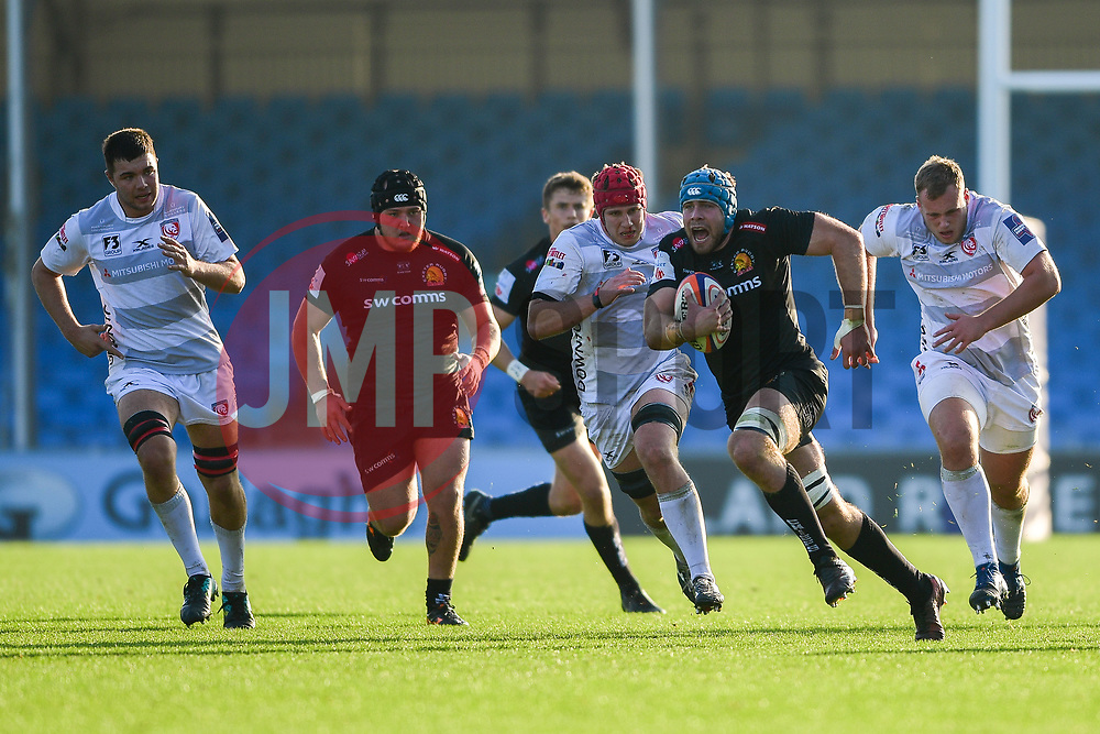 James McRae of Exeter Braves makes a break - Mandatory by-line: Ryan Hiscott/JMP - 17/11/2018 - RUGBY - Sandy Park Stadium - Exeter, England - Exeter Braves v Gloucester United - Premiership Rugby Shield