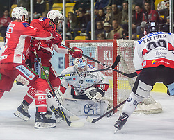 28.10.2018, Stadthalle, Klagenfurt, AUT, EBEL, EC KAC vs HC Orli Znojmo, 14. Runde, im Bild David Fischer (EC KAC, #3), Marcel Witting (EC KAC, #47), Teemu Lassila (HC Orli Znojmo, #19), Jan Latten (HC Orli Znojmo, #89)// during the Erste Bank Eishockey League 14th round match between EC KAC vs HC Orli Znojmo at the City Hall in Klagenfurt, Austria on 2018/10/28. EXPA Pictures © 2018, PhotoCredit: EXPA/ Gert Steinthaler