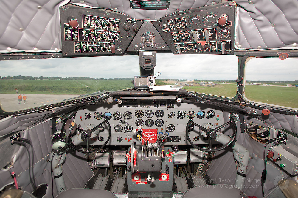 A view of the instrument panel inside a Canadian C-47 'Burma Star', originally delivered as NC1729 for Eastern Airlines.