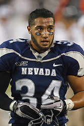September 17, 2010; Reno, NV, USA; Nevada Wolf Pack running back Vai Taua (34) on the sidelines during the first quarter against the California Golden Bears at Mackay Stadium. Nevada defeated California 52-31.
