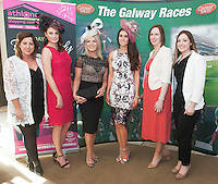 07/07/2014  Repro free Aly Clarke,  Athlone Town Centre, catwalk models Katie Harris, Marietta Doran who'll judge the My Fair lady Competition on the Friday night of Race week with catwalk model Nuala Gorham  and Shirley Delahunt, Frieda Nevin both Athlone Town Centre at the launch of the Galway Races Summer Festival at the Radisson Blu Hotel Galway. Photo:Andrew Downes