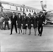 17/08/1962<br /> 08/17/1962<br /> 17 August 1962<br /> Aer Lingus crew members for Royal flight, who would fly Princess Margaret and Lord Snowden to Shannon, for an Irish holiday, from London that day at Dublin Airport. Pictured are (l-r): 1st Officer Brian Luffingham; Hostesses, Janette Sweetman (Dublin); Joan Doyle (Dublin): Margaret Woods (Dublin) and Mary Casey (Mullingar) and Captain B. Noble (Belfast).
