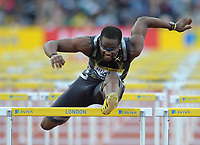 Dayron Robles (CUBA) powers to a win in the mens 110m hurdles<br /> Aviva London Grand Prix<br /> Crystal Palace National Sports Centre, London, UK<br /> 24/07/2009. Credit Colorsport/Dan Rowley