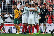 Jamie Vardy of England celebrating after scoring goal to make it 2-0 during the FIFA World Cup Qualifier group stage match between England and Lithuania at Wembley Stadium, London, England on 26 March 2017. Photo by Matthew Redman.