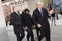 """© Licensed to London News Pictures. 20/11/2015. London, UK. Mazher Mahmood, known as the """"Fake Sheikh"""" arrives at Wetminster Magistrates court where he appears with Alan Smith, charged with perverting the course of justice. Photo credit : Vickie Flores/LNP"""