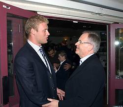 Left to right, ANDREW FLINTOFF and LORD ARCHER at a party to celebrate the publication on 'Confessions of a Dedicated Englishman' by David English held at the Lord's Tavern, St.John's Wood Road, London on 8th May 2006.<br />