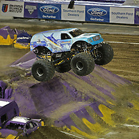 Hooked driven by Steven Sims is seen during the Monster Jam big truck event at the Citrus Bowl in Orlando, Florida on Saturday, January 25, 2014. (AP Photo/Alex Menendez)