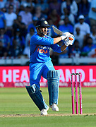 MS Dhoni of India plays an attacking shot during the International T20 match between England and India at the SWALEC Stadium, Cardiff, United Kingdom on 6 July 2018. Picture by Graham Hunt.