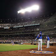 NEW YORK, NEW YORK - July 02: Anthony Rizzo #44 of the Chicago Cubs preparing to bat during the Chicago Cubs Vs New York Mets regular season MLB game at Citi Field on July 02, 2016 in New York City. (Photo by Tim Clayton/Corbis via Getty Images)