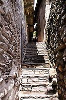 Ticino, Southern Switzerland. Narrow, steep, dry-stone stairs in Intragna.