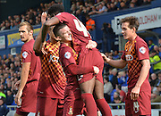 Bradford City celebrate another goal in front of the away fans during the Sky Bet League 1 match between Oldham Athletic and Bradford City at Boundary Park, Oldham, England on 5 September 2015. Photo by Mark Pollitt.