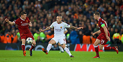 LIVERPOOL, ENGLAND - Tuesday, April 24, 2018: Liverpool's James Milner (left) and AS Roma's Radja Nainggolan during the UEFA Champions League Semi-Final 1st Leg match between Liverpool FC and AS Roma at Anfield. (Pic by David Rawcliffe/Propaganda)
