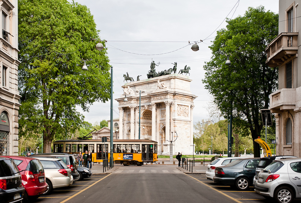 Arco della Pace in Milan on April 6, 2012, This famous landmark was built in 1807 by architect Luigi Cagnola under the Napoleonic rule.