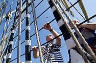 Piotr Krzystek (Major of Szczecin) climbs to the highest yard sailing (sky yard) of Kruzenshtern from Russia during The Tall Ships Races 2013 on Odra River in Szczecin, Poland.<br /> <br /> Poland, Szczecin, August 05, 2013<br /> <br /> Picture also available in RAW (NEF) or TIFF format on special request.<br /> <br /> For editorial use only. Any commercial or promotional use requires permission.<br /> <br /> Mandatory credit:<br /> Photo by © Adam Nurkiewicz / Mediasport