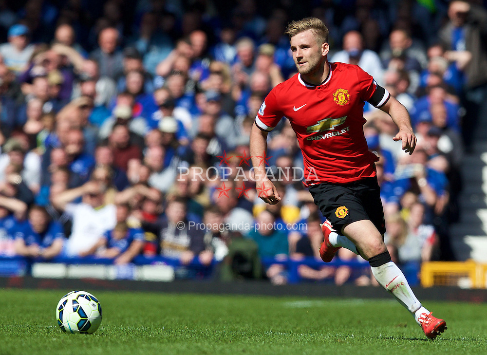 LIVERPOOL, ENGLAND - Sunday, April 26, 2015: Manchester United's Luke Shaw in action against Everton during the Premier League match at Goodison Park. (Pic by David Rawcliffe/Propaganda)