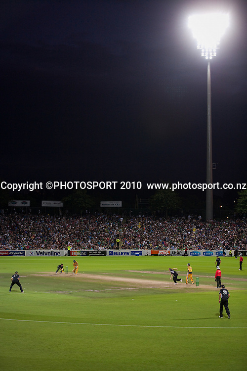 General view of action under the lights during the third one day Chappell Hadlee cricket series match between New Zealand Black Caps and Australia at Seddon Park, won by Australia by 6 wickets in Hamilton, New Zealand. Tuesday 9 March 2010. Photo: Stephen Barker/PHOTOSPORT