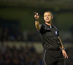 BRISTOL, ENGLAND - Tuesday, September 28, 2010: Referee Chris Sarginson takes charge of Bristol Rovers versus Tranmere Rovers during the Football League One match at the Memorial Ground. (Photo by David Rawcliffe/Propaganda)