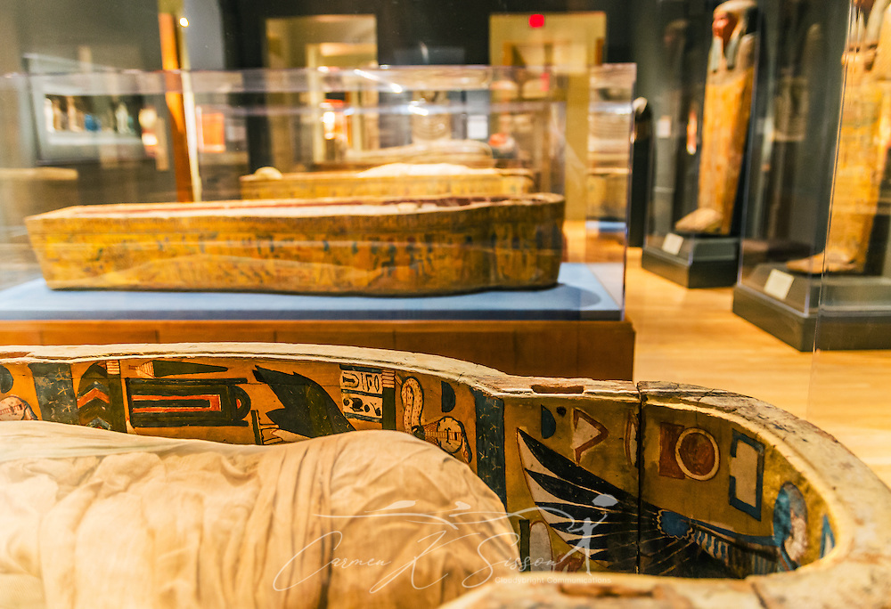 A mummy lies in a room with other mummies at the Michael C. Carlos Museum at Emory University, July 8, 2014, in Atlanta, Georgia. The museum was founded in 1876 and contains more than 17,000 artifacts in its permanent collections. (Photo by Carmen K. Sisson/Cloudybright)