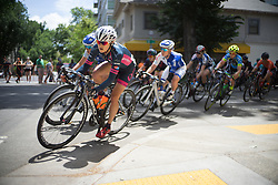 Lex Albrecth (CAN) of BePink Cycling Team leans into a corner during the fourth, 70 km road race stage of the Amgen Tour of California - a stage race in California, United States on May 22, 2016 in Sacramento, CA.