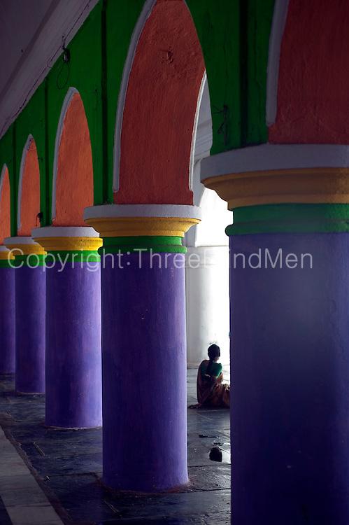 Painted columns at Dargah shrine.