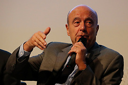 Former French Prime Minister and candidate for the center-right presidential primaries, Alain Juppe participates in a debate hosted by the French Building Federation (FFB) focussed on the concerns of business heads and craftsmen in the building industry, in Paris, France on October 25, 2016. Photo by Henri Szwarc/ABACAPRESS.COM