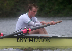 © Licenced to London News Pictures. 06/04/2014. London. UK.  <br /> Cambridge University's Luke Jukett is pictured looking crestfallen after he 'caught a crab' during the annual BNY Mellon Boat Race between the two crews on the River Thames in London, April 6th, 2014. <br /> Credit: Susannah Ireland