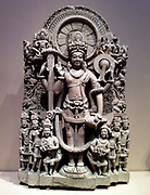 Stele of a four armed Vishnu. India, 10th-11th Century AD. Sandstone