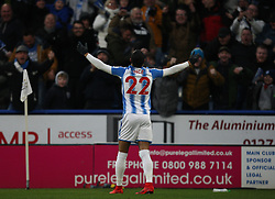 Thomas Ince of Huddersfield Town celebrates scoring his sides first goal - Mandatory by-line: Jack Phillips/JMP - 26/12/2017 - FOOTBALL - The John Smith's Stadium - Huddersfield, England - Huddersfield Town v Stoke City - English Premier League