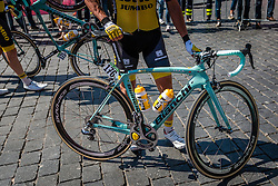 Bianchi of ROGLIC Primoz from Slovakia of Team Lotto NL - Jumbo (NED) signing in before the start at Nijmegen, stage 3 from Nijmegen to Arnhem running 190 km of the 99th Giro d'Italia (UCI WorldTour), The Netherlands, 8 May 2016. Photo by Pim Nijland / PelotonPhotos.com | All photos usage must carry mandatory copyright credit (Peloton Photos | Pim Nijland)