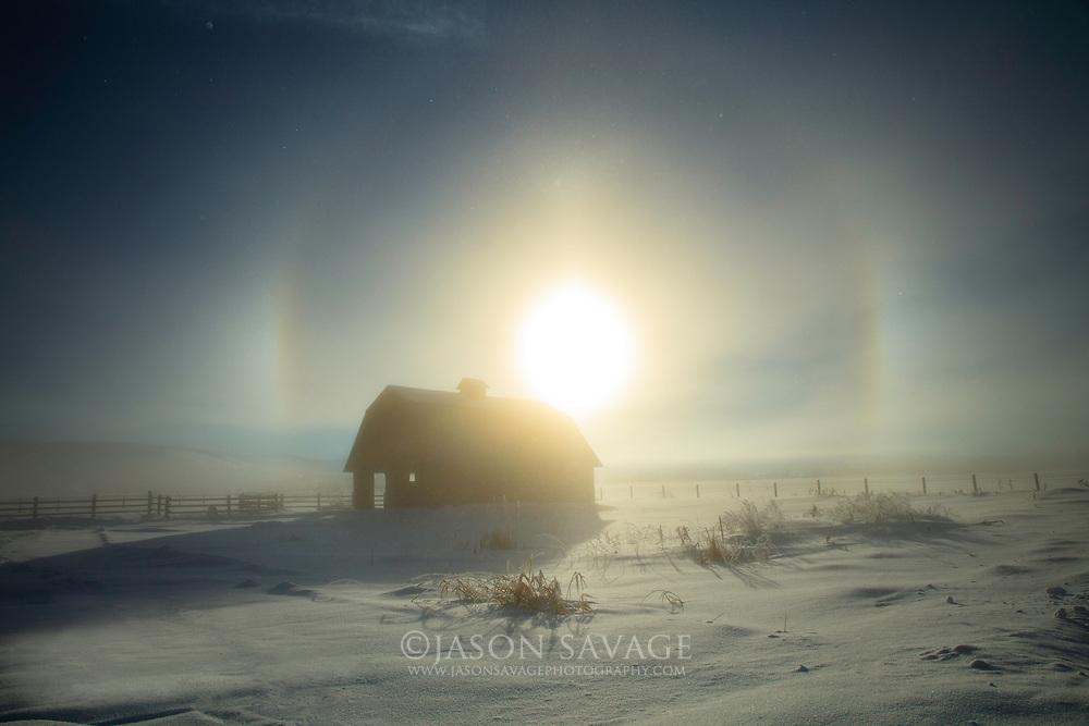 Sun Dog and Barn near Stevensville, Montana.