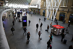 © Licensed to London News Pictures. 13/03/2020. London, UK. Nearly empty King's Cross concourse amid an increased number of Coronavirus (COVID-19) cases in the UK. 798 cases have been tested positive and ten patients have died from the virus in the UK. Photo credit: Dinendra Haria/LNP