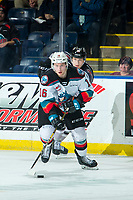 KELOWNA, BC - JANUARY 4: Michael Farren #16 of the Kelowna Rockets skates with the puck during second period against the Vancouver Giants  at Prospera Place on January 4, 2020 in Kelowna, Canada. (Photo by Marissa Baecker/Shoot the Breeze)