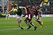 Hibernian FC Midfielder John McGinn on the attack during the Scottish Cup 5th round match between Heart of Midlothian and Hibernian at Tynecastle Stadium, Gorgie, Scotland on 7 February 2016. Photo by Craig McAllister.