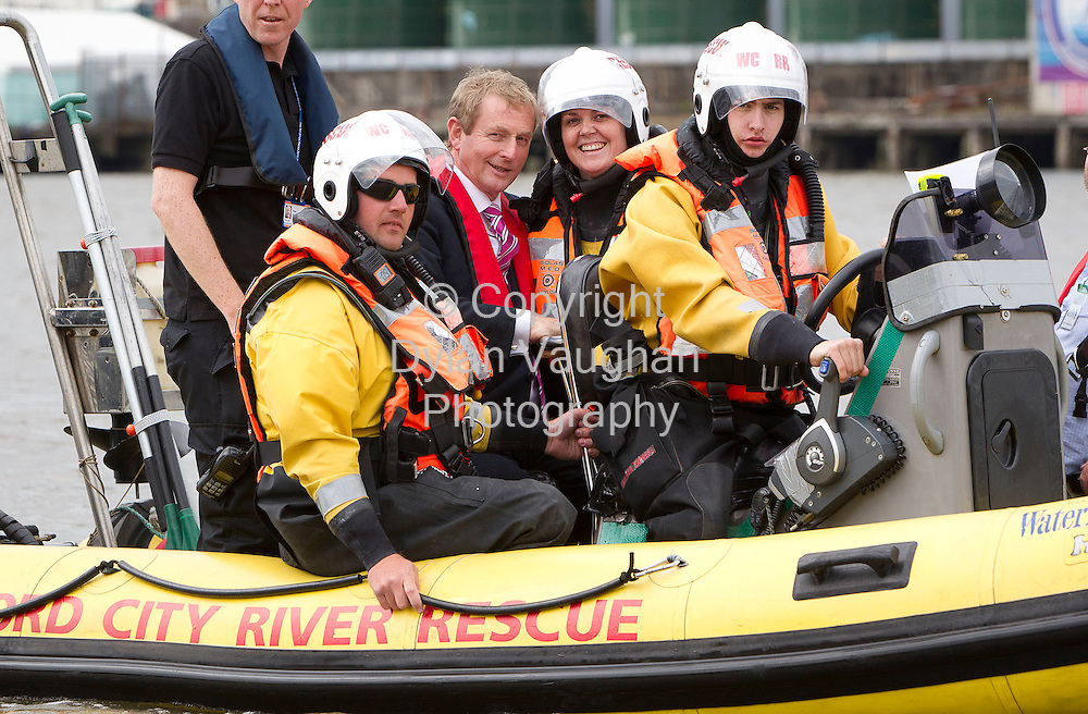 30/6/2011.no charge for repro.The Taoiseach Enda Kenny TD pictured taking a trip amongst the Tall Ships with the Waterford City River Rescue at the Tall Ships Races in Waterford yesterday..Picture Dylan Vaughan