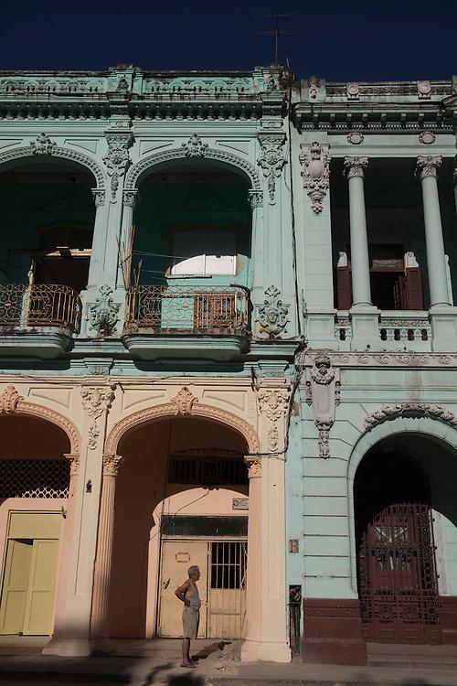 Traditional architecture on Prado street in Havana, Cuba.