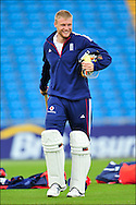 Andrew Freddie Flintoff smiles as he heads for a bat at Headingley on the 16th of July 2008..England v South Africa.Photo by Philip Brown.www.philipbrownphotos.com