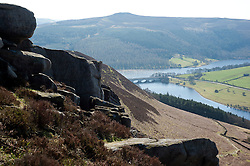 View of Ladybower Reservoir from Derwent Edge in the Peak National Park..http://www.pauldaviddrabble.co.uk.25 March 2012 .Image © Paul David Drabble