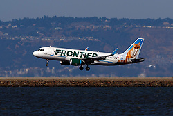 Airbus A320-214 (N229FR) operated by Frontier Airlines with the Peachy the Fox livery landing at San Francisco International Airport (KSFO), San Francisco, California, United States of America