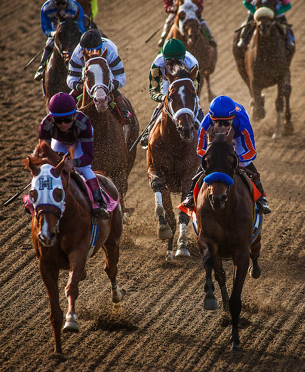 Game on Dude, ridden by Mike Smith races next to  Hear The Ghost, ridden by Joel Rosario followed by  Will Take Charge, ridden by Luis Saez and  Mucho Macho Man, ridden by Gary Stevens during  the Santa Anita Handicap (G1) at Santa Anita Park on March 8, 2014 in Arcadia, California (Photo by Evers/Eclipse Sportswire)