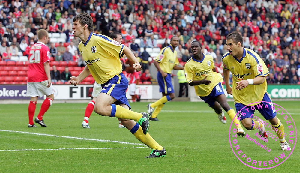 Photo: Paul Thomas..Barnsley v Southampton. Coca Cola Championship. 19/08/2006...Grzegorz Rasiak (L) celebrates his goal for Southampton.