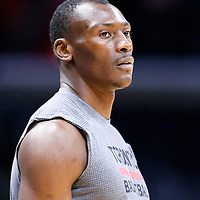 22 November 2015:  Toronto Raptors forward Bismack Biyombo (8) warms up prior to the Toronto Raptors 91-80 victory over the Los Angeles Clippers, at the Staples Center, Los Angeles, California, USA.